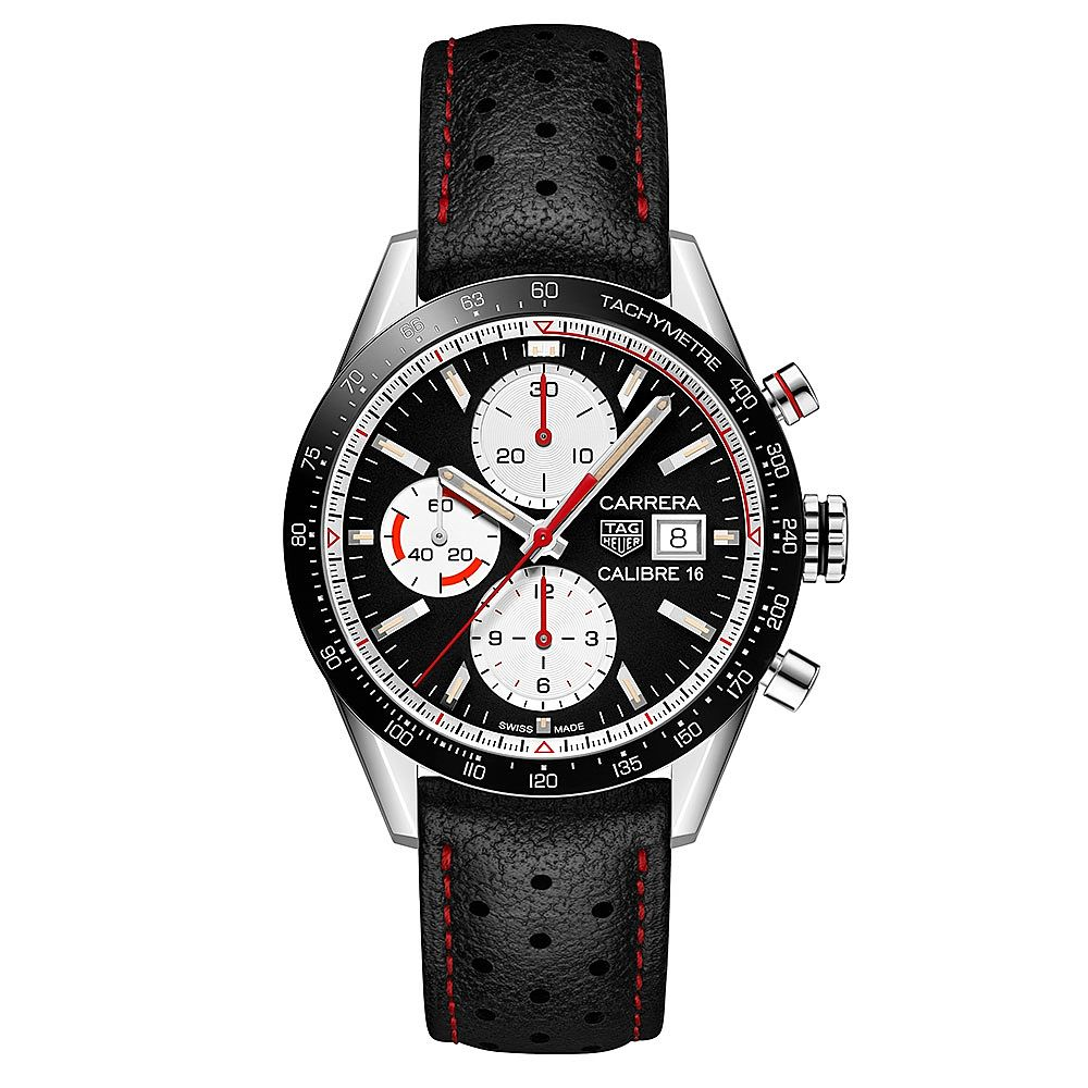 Tag Heuer Carrera C16 Black Leather Strap Watch - Product number 9232176
