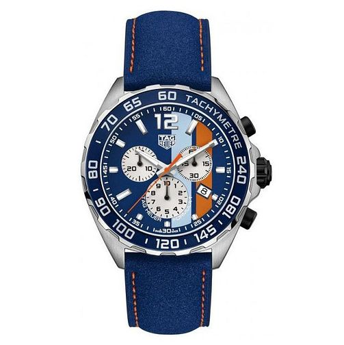 TAG Heuer F1 Men's Blue Leather Strap Chronograph Watch - Product number 9232206