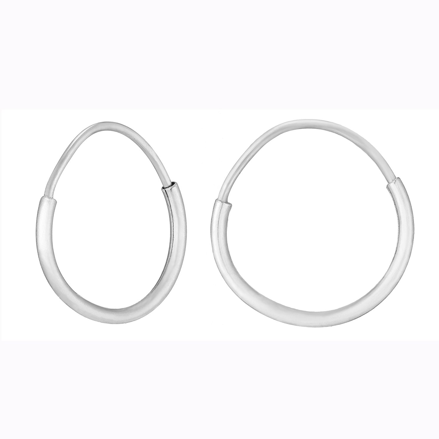 9ct White Gold 10mm Sleeper Earrings - Product number 9242694