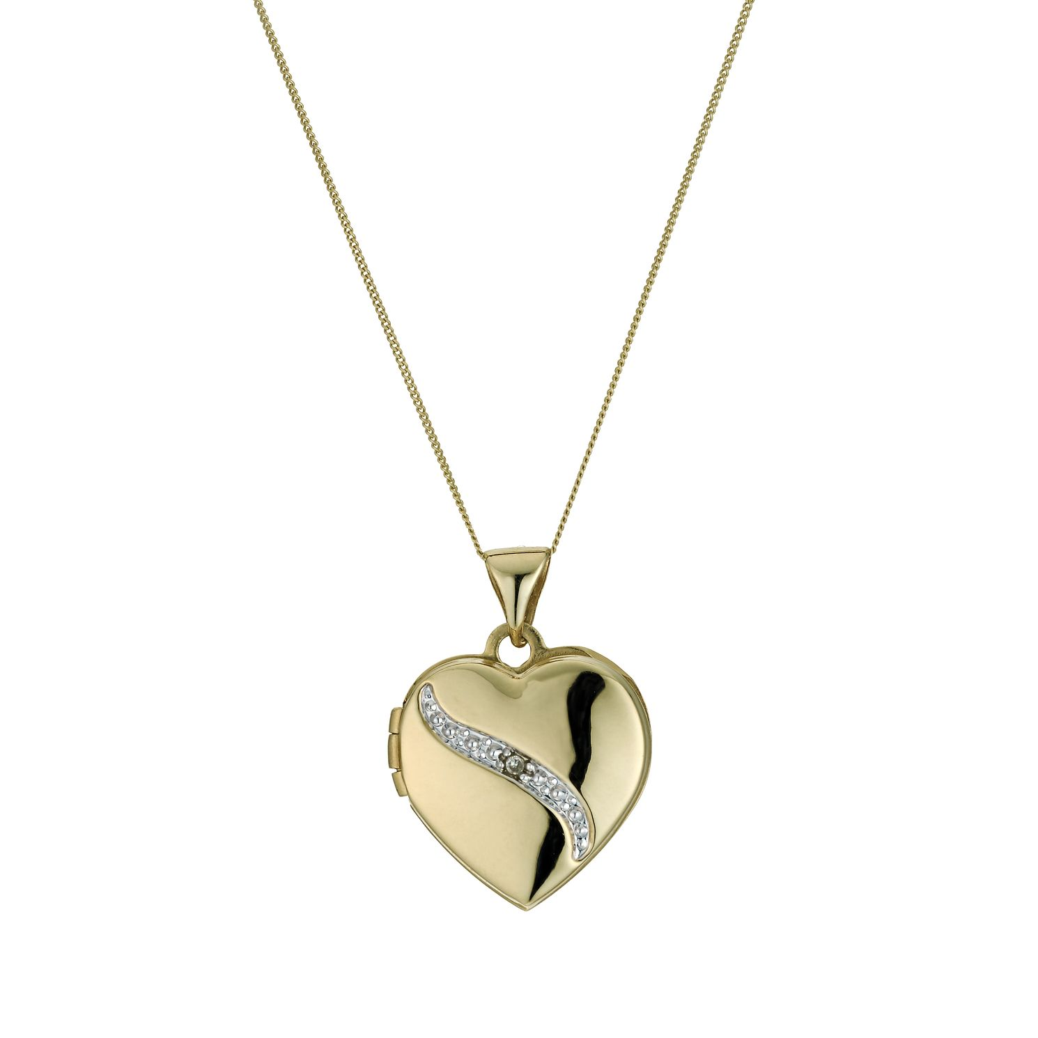 9ct Yellow Gold Diamond Set Heart Locket - Product number 9243038