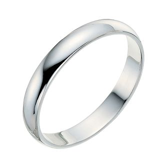 9ct White Gold 3mm Extra Heavyweight D Shape Ring - Product number 9248420