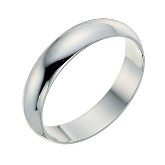9ct White Gold 4mm Extra Heavyweight D Shape Ring - Product number 9248803