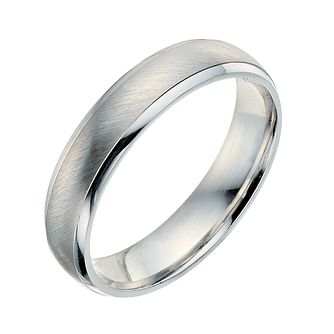9ct White Gold 4mm Matt And Polished Ring - Product number 9249699