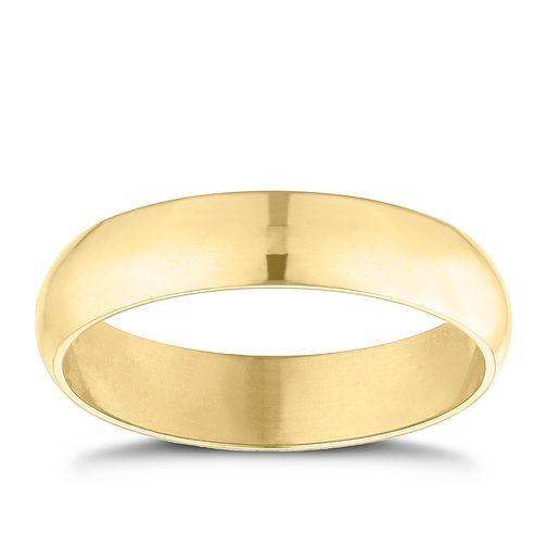 9ct yellow gold 4mm D shaped plain court ring - Product number 9251839