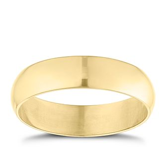 9ct Yellow Gold 5mm Extra Heavyweight D Shape Ring - Product number 9252088