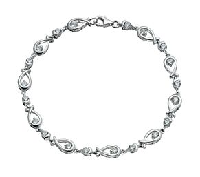 Silver & cubic zirconia love knot bracelet - Product number 9252665