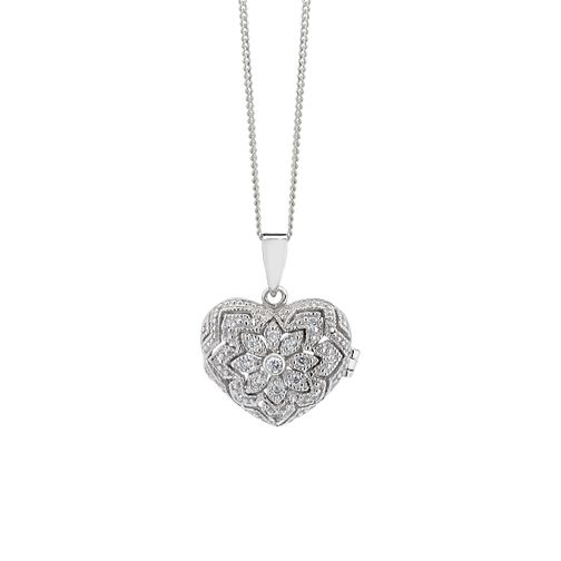 Silver & cubic zirconia vintage locket - Product number 9252886