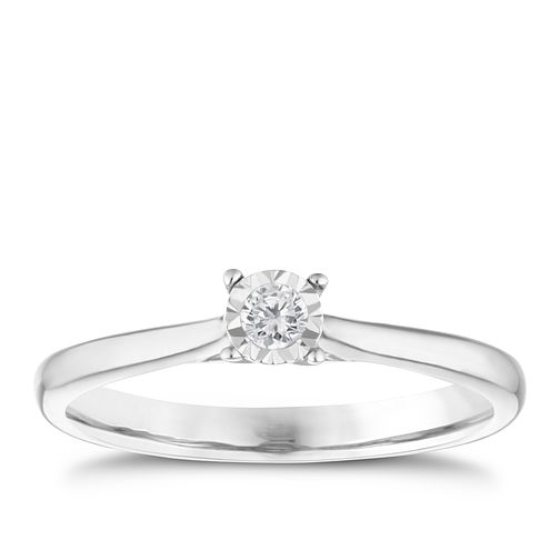 9ct white gold diamond illusion set solitaire ring - Product number 9259201