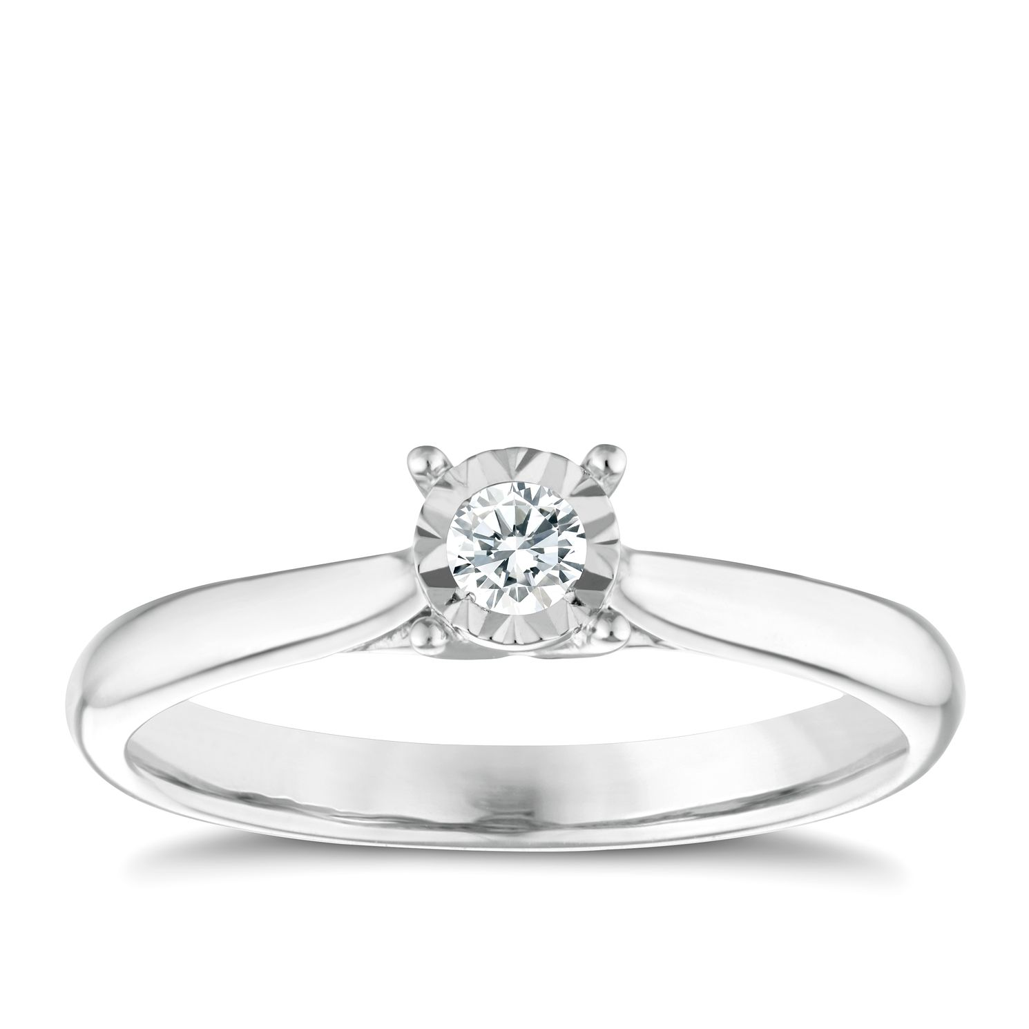 Ernest Jones 9ct White Gold Diamond Illusion Set Solitaire