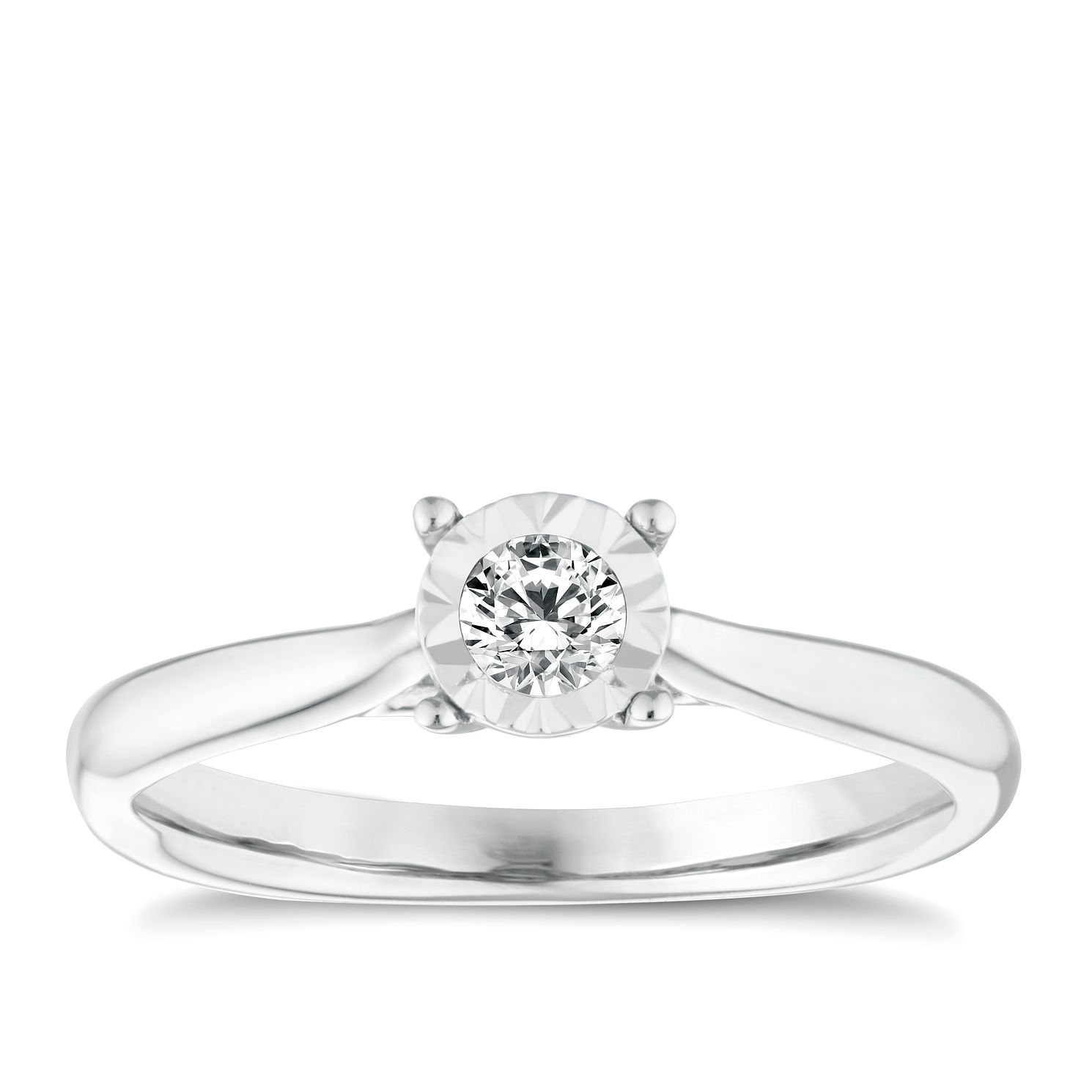 9ct White Gold 0.17ct Diamond Illusion Solitaire Ring - Product number 9259465