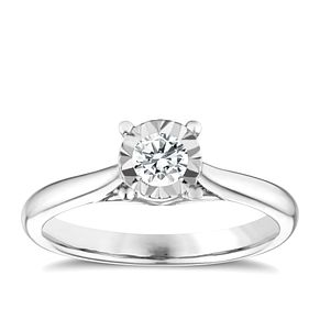 9ct white gold 1/4ct diamond illusion solitaire ring - Product number 9259600
