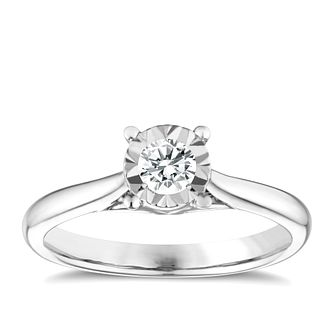 9ct White Gold 0.25ct Diamond Illusion Solitaire Ring - Product number 9259600