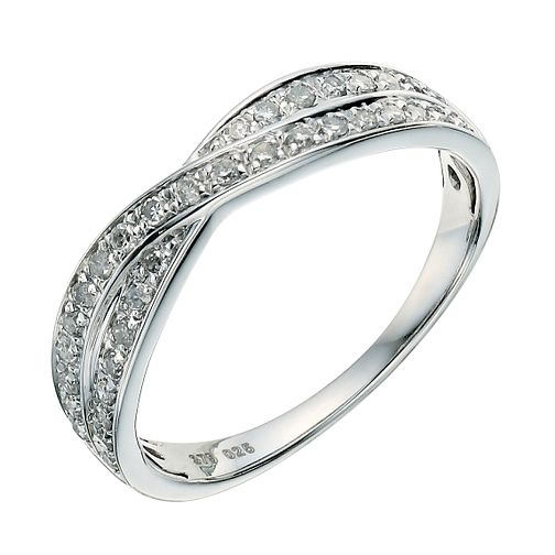 9ct white gold crossover 0.25ct diamond wedding ring - Product number 9263225