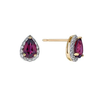 9ct yellow gold garnet & diamond earrings - Product number 9271414