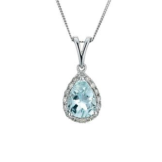9ct White Gold Aquamarine & Diamond Pendant - Product number 9271430