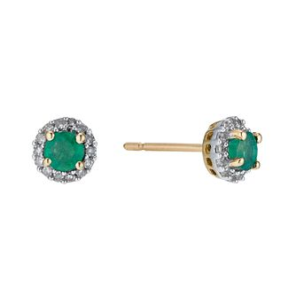 9ct Yellow Gold Emerald & 0.10ct Diamond Stud Earrings - Product number 9271570