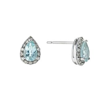 9ct White Gold Aquamarine & 0.10ct Diamond Earrings - Product number 9272151