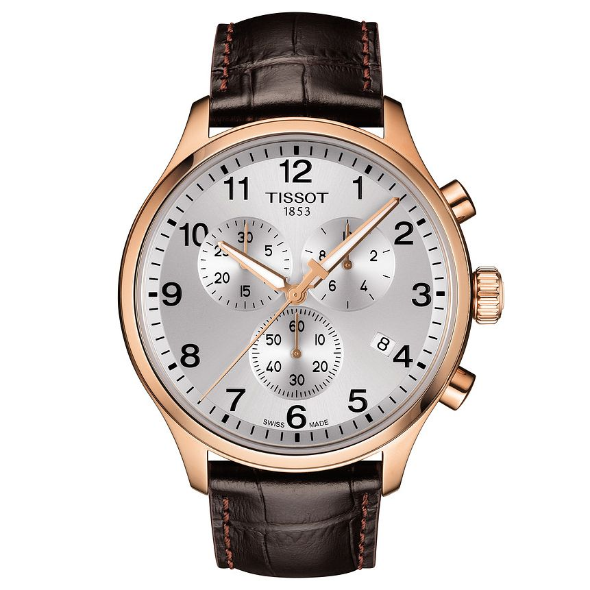 Tissot Chrono Xl Men's Rose Gold Plated Brown Strap Watch - Product number 9272178