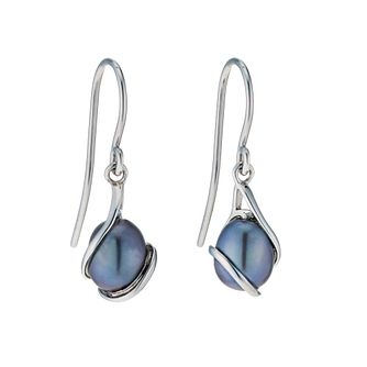 9ct White Gold Black Coloured Freshwater Pearl Earrings - Product number 9274219