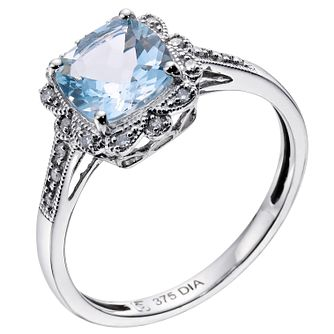 9ct White Gold Vintage Style Aquamarine & Diamond Ring - Product number 9274960