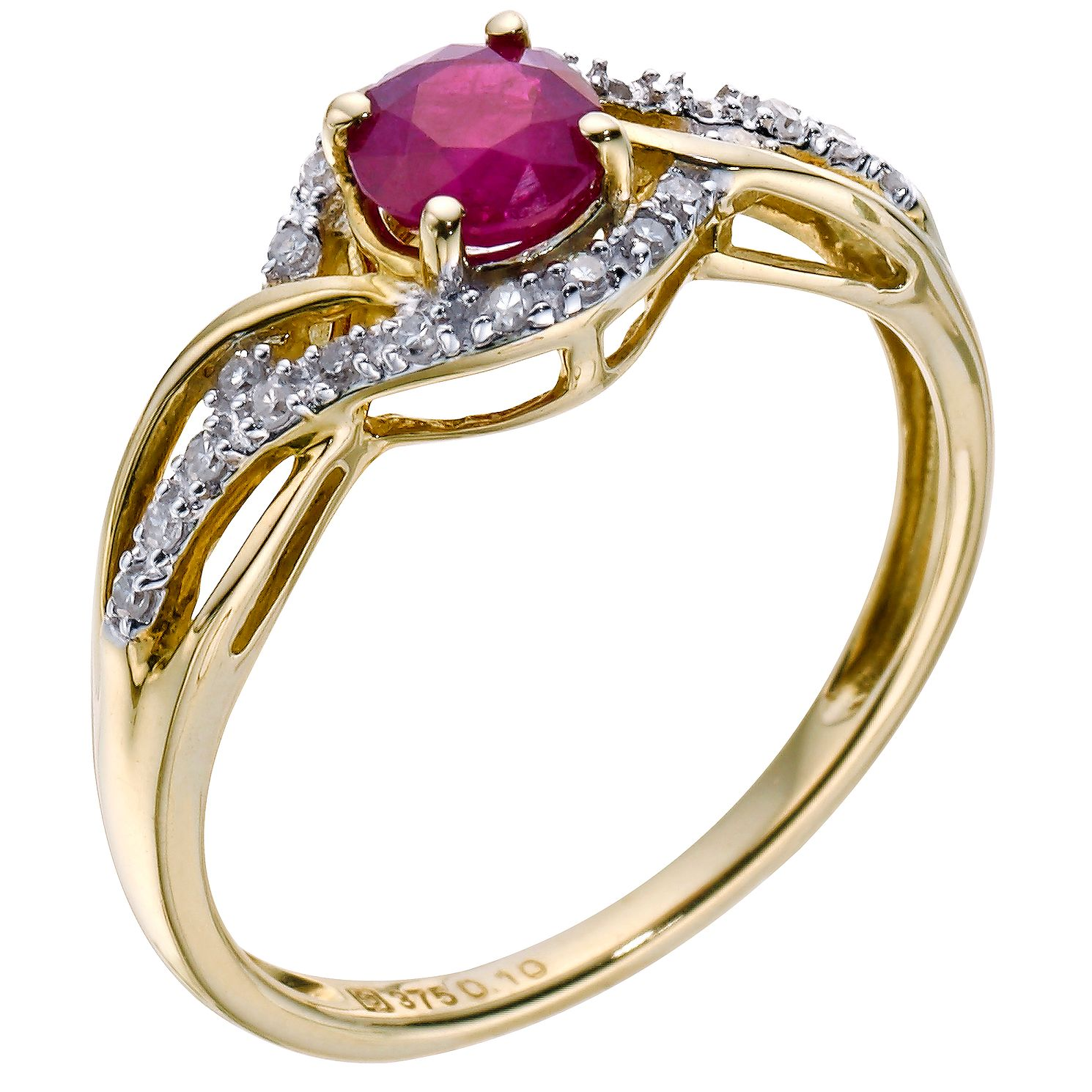 9ct Yellow Gold Ruby & 0.10ct Diamond Twist Ring - Product number 9275487