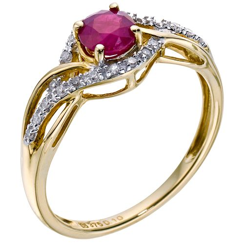 9ct yellow gold ruby & diamond twist ring - Product number 9275487