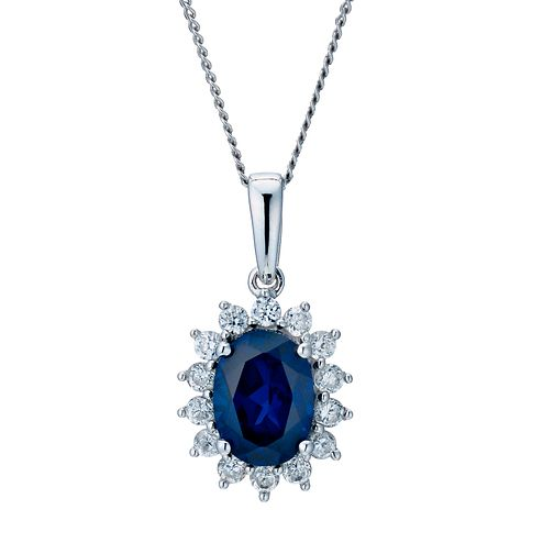 "9ct white gold 18"" created sapphire cluster pendant - Product number 9275886"