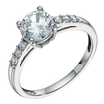 9ct white gold cubic zirconia solitaire ring - Product number 9276092
