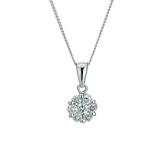 9ct  white gold 0.33ct diamond cluster pendant - Product number 9276777