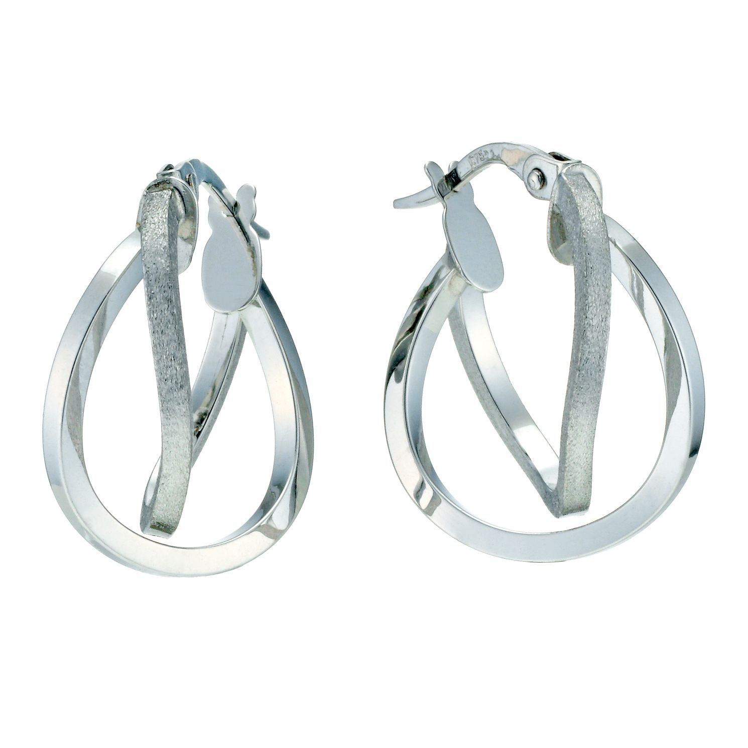 9ct White Gold Double Row Twist 15mm Hoop Earrings - Product number 9280243