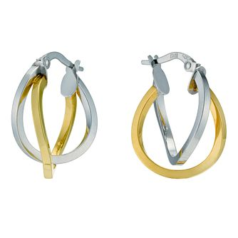 9ct Yellow & White Gold Double Row Twist Hoop Earrings - Product number 9280251