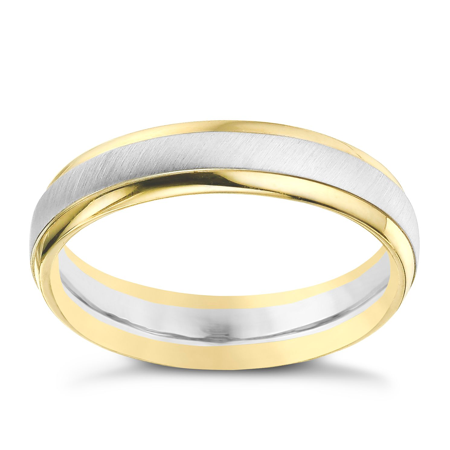 9ct Yellow & White Gold 5mm Matt & Polish Ring - Product number 9289011