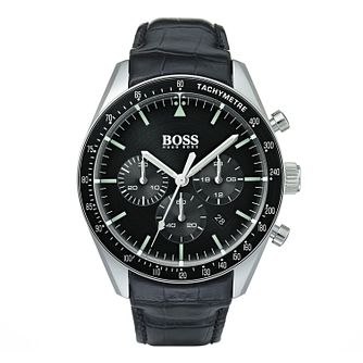 Hugo Boss Trophy Men's Black Leather Strap Watch - Product number 9300775