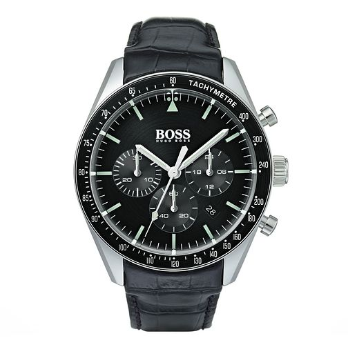 BOSS Trophy Men's Black Leather Strap Watch - Product number 9300775