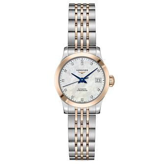 Longines Record Ladies' Two Colour Diamond Bracelet Watch - Product number 9301291