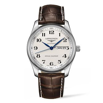 Longines Master Men's Brown Leather Strap Watch - Product number 9301569