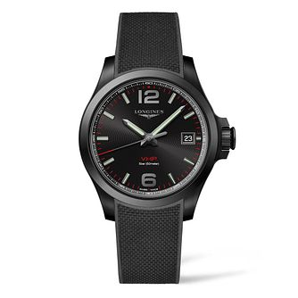 Longines Conquest Vhp Men's Black Rubber Strap Watch - Product number 9301577