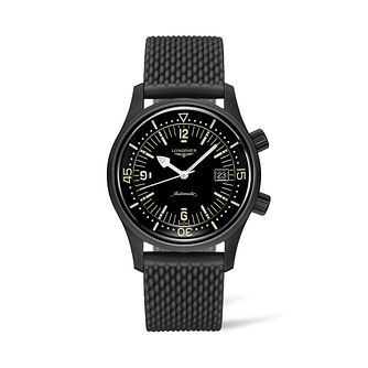 Longines Heritage Men's Black Rubber Strap Watch - Product number 9301593