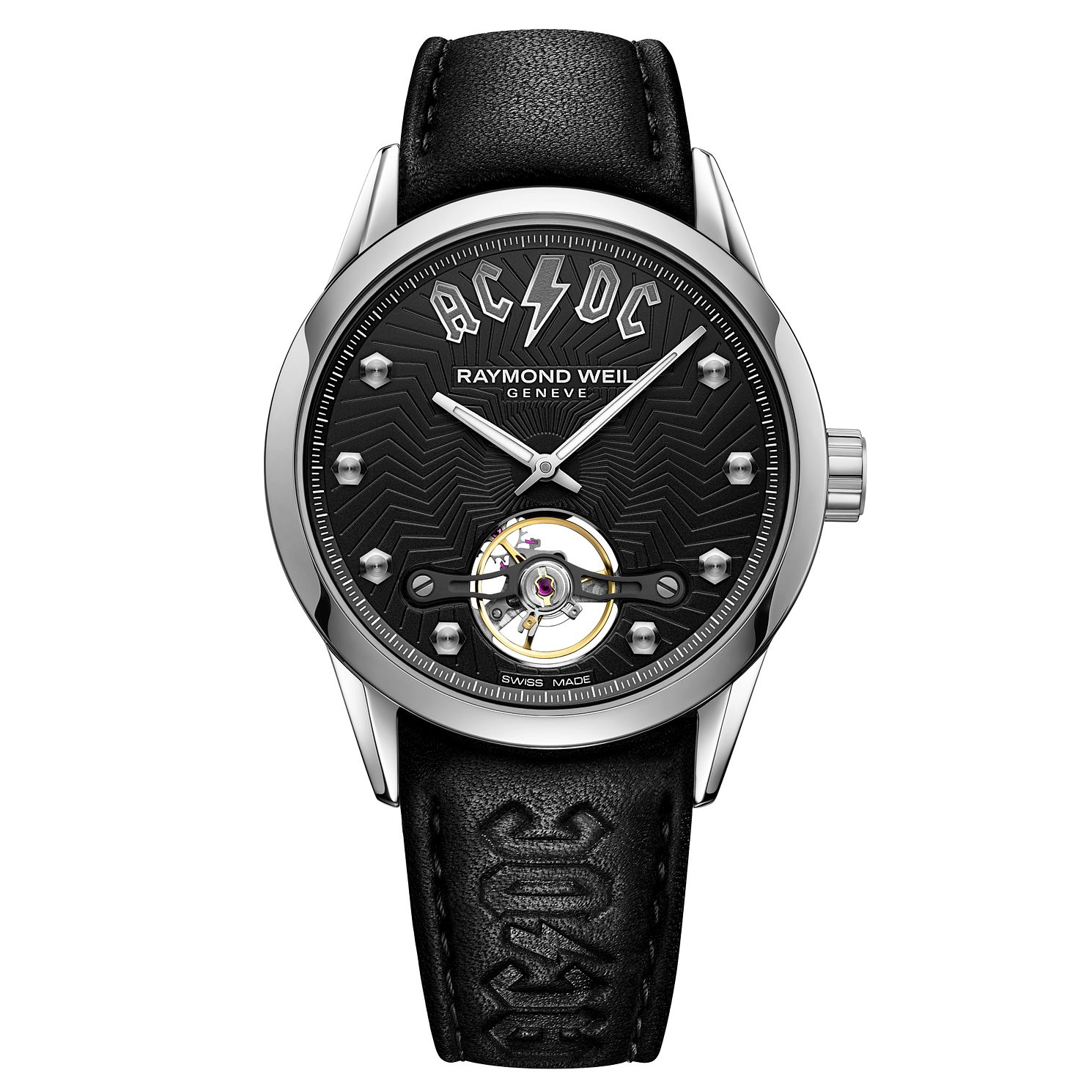 Raymond Weil Freelancer AC/DC Black Leather Strap Watch - Product number 9302271