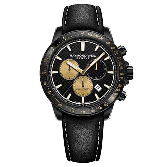 Raymond Weil Tango Marshall Men's Black Leather Strap Watch - Product number 9302328