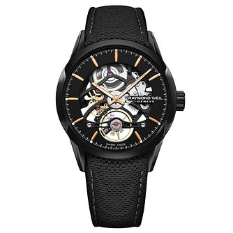 Raymond Weil Freelancer Men's Skeleton Black Strap Watch - Product number 9302344