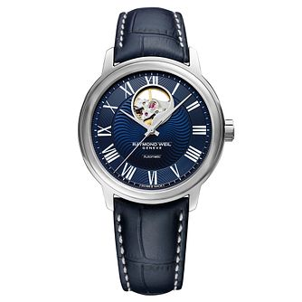 Raymond Weil Maestro Men's Blue Leather Strap Watch - Product number 9302581