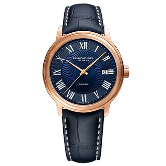 Raymond Weil Maestro Men's Blue Leather Strap Watch - Product number 9302603