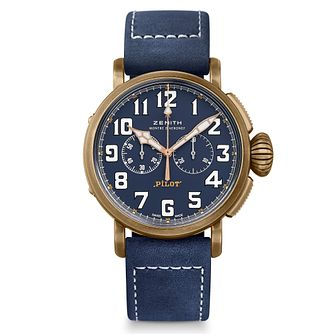 Zenith Pilot Men's Bronze Chronograph Blue Strap Watch - Product number 9303480