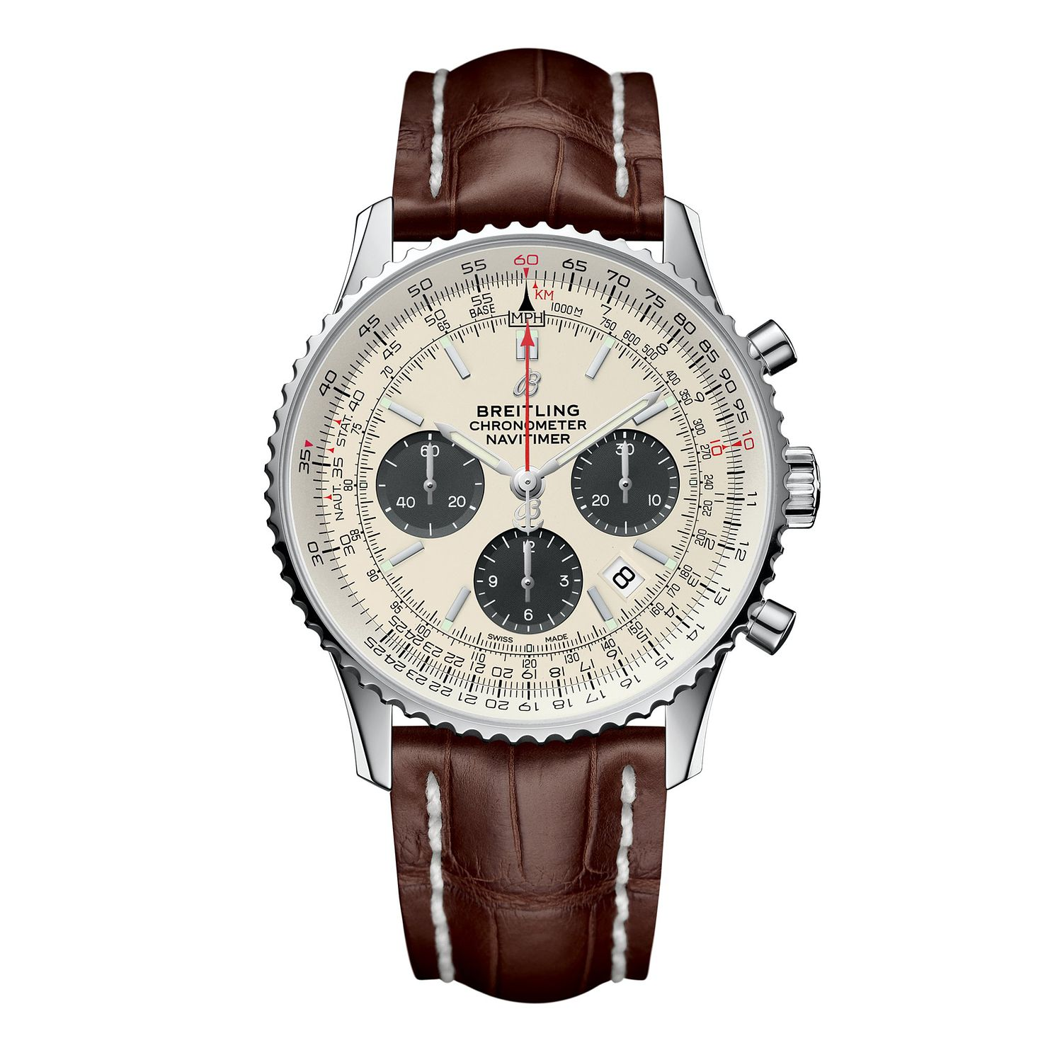 Breitling Navitimer 01 Men's Brown Leather Strap Watch - Product number 9303871