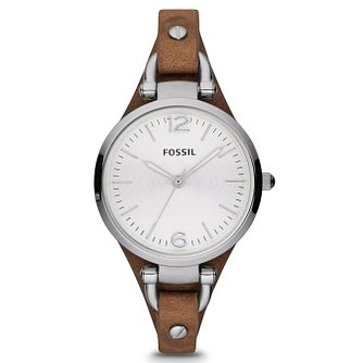 Fossil Ladies' Georgia Brown Leather Cuff Watch - Product number 9304576