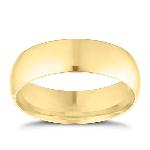 9ct yellow gold 6mm extra heavyweight D Shape ring - Product number 9310851