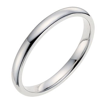 18ct White Gold 2mm Extra Heavyweight D Shape Ring - Product number 9320865