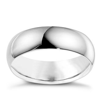 18ct White Gold 8mm Extra Heavyweight D Shape Ring - Product number 9321500