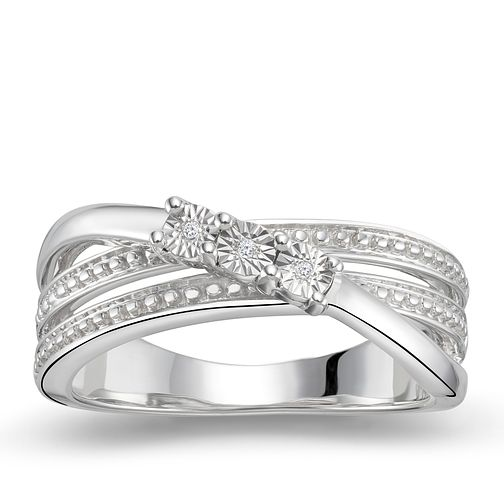 Silver Three Stone Diamond Ring - Product number 9322817